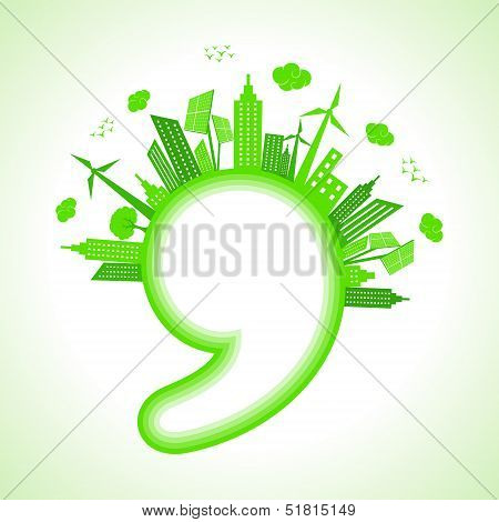 Illustration of ecology concept with comma - save nature