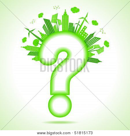 Illustration of ecology concept with question mark- save nature