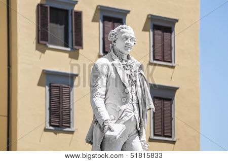 Carlo Osvaldo Goldoni Statue Located In Florence, Italy