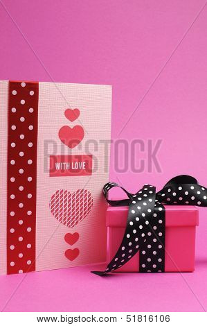 Cute And Sassy Pink And Black Polka Dot Gift With Handmade Gift Card And 'with Love' Message, For Va