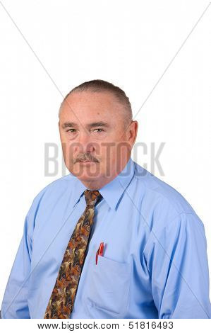 older mustached businessman in blue colored shirt and tie, isolated over white