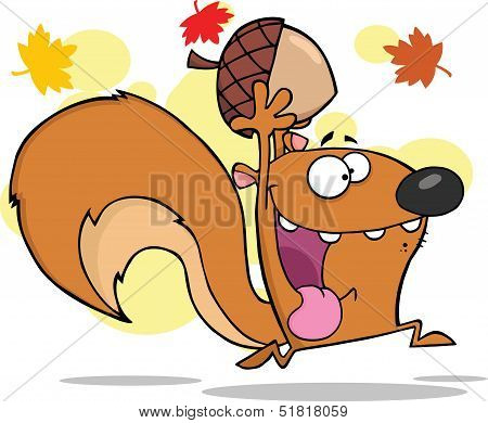 Crazy Squirrel Character Running With Acorn