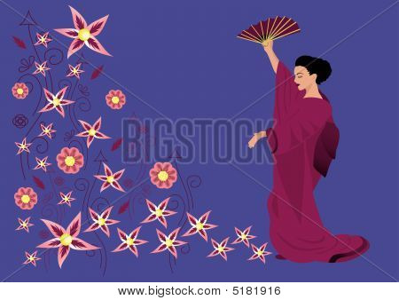 Beautiful Woman In Kimono