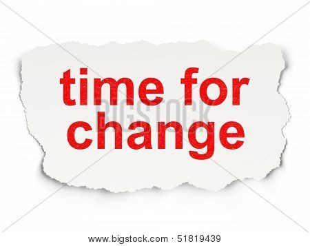 Time concept: Time for Change on Paper background