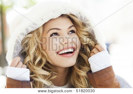 Portrait of woman in winter clothing