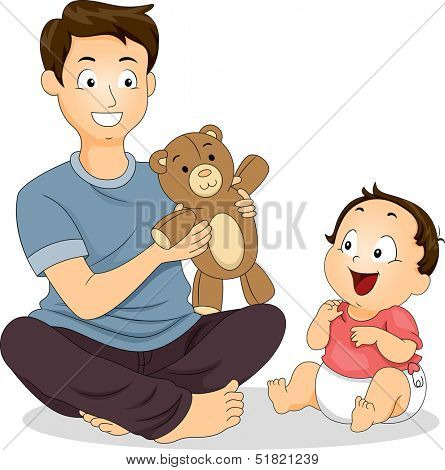 Illustration of a Father and His Young Son Playing with a Stuffed Toy