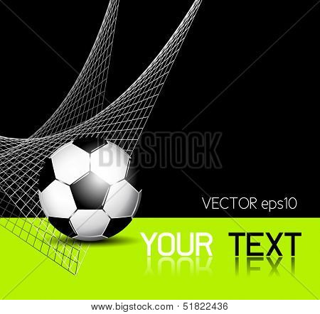Soccer ball background with net - football flyer template