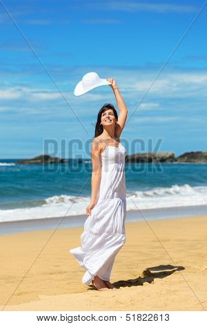 Joyful Woman On Beach Vacation