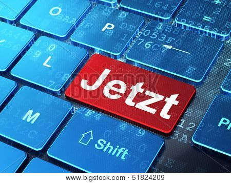 Timeline concept: Jetzt(german) on computer keyboard background