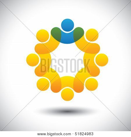 Abstract Icons Of Employees Team & Manager In Circle - Concept Vector