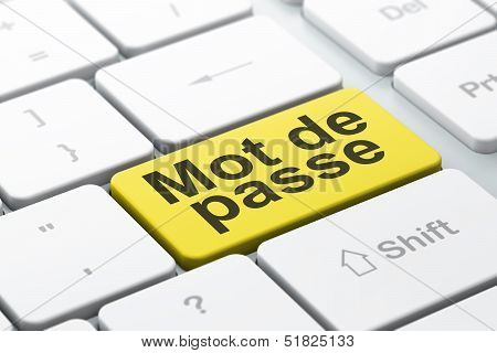 Safety concept: Mot de Passe(french) on computer keyboard backgr