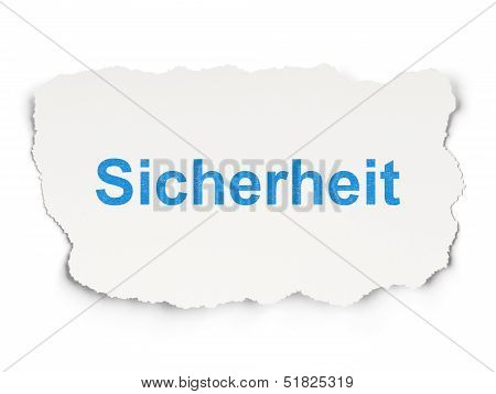 Security concept: Sicherheit(german) on Paper background