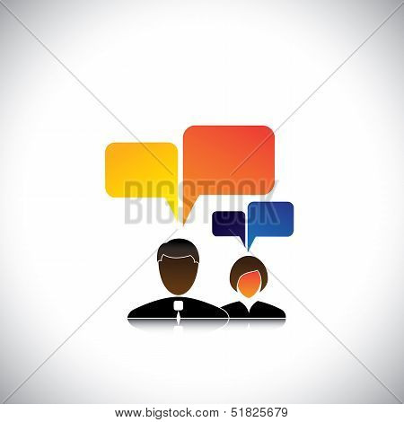 Abstract Man & Woman Employees Icons With Speech Bubbles - Concept Vector