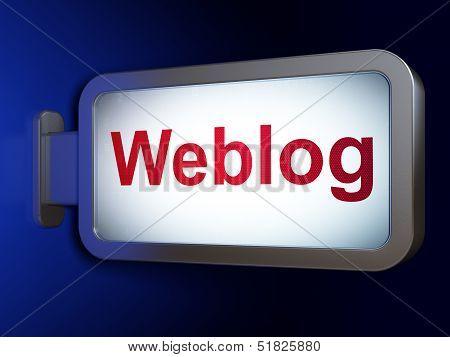 Web development concept: Weblog(german) on billboard background