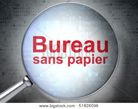 Business concept: Bureau Sans papier(french) with optical glass