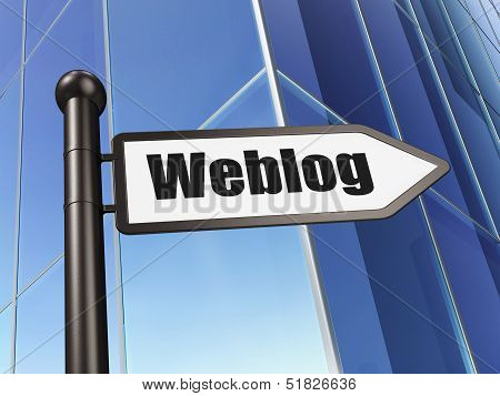 Web development concept: Weblog(german) on Building background
