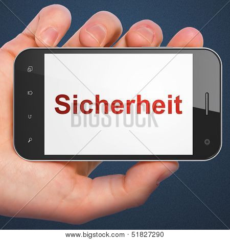Privacy concept: Sicherheit(german) on smartphone