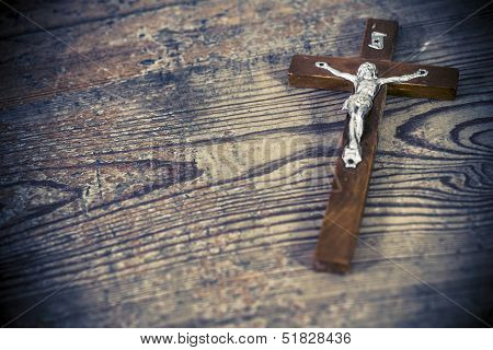 Beautiful Old Cross With Jesus