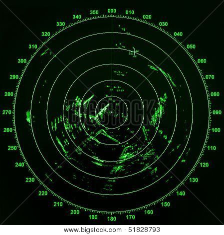 Modern Ship Radar Screen With Green Round Map On Black Background