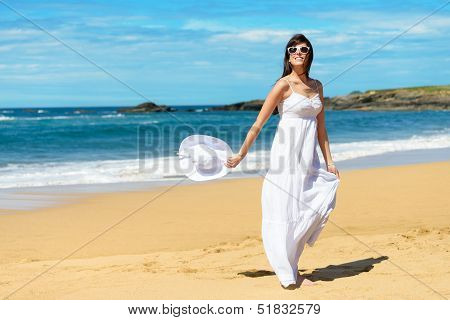 Summer Vacation Joyful Woman Walking