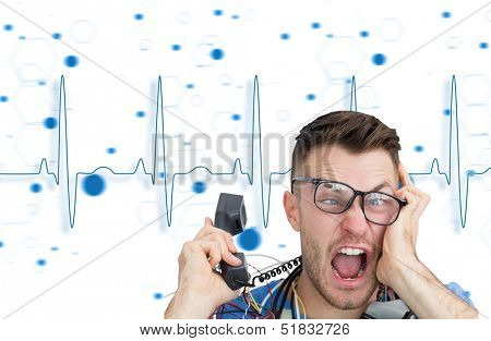 Composite image of frustrated computer engineer screaming while on call in front of blue ecg line on white background