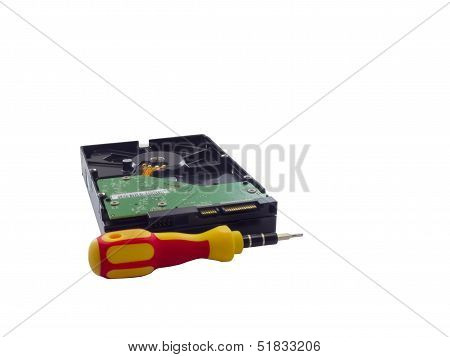 Hard Disk And Screwdriver Isolated