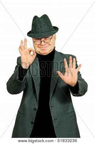Man Showing A Gesture Of