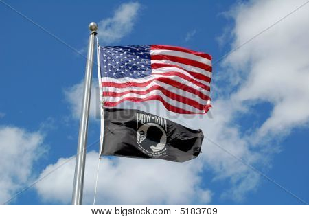 Pow Flag Alongside Old Glory