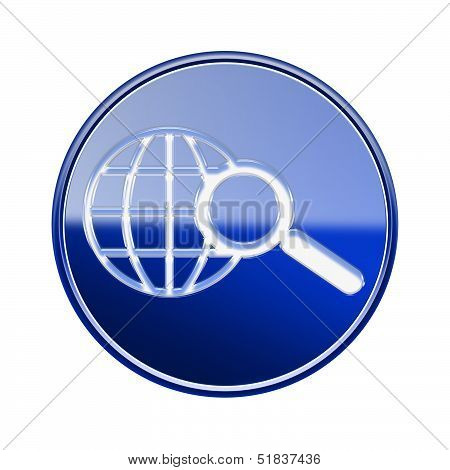 Globe And Magnifier Icon Glossy Blue, Isolated On White Background