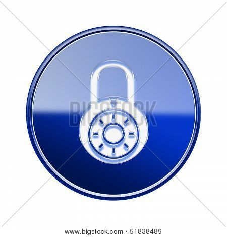 Lock Off Icon Glossy Blue, Isolated On White Background.
