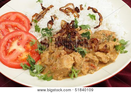 The popular south-Indian variant of Chicken Korma, incorporating coconut, seen closeup, served with boiled basmati rice and garnished with coriander leaves, fried onion and sliced tomato.
