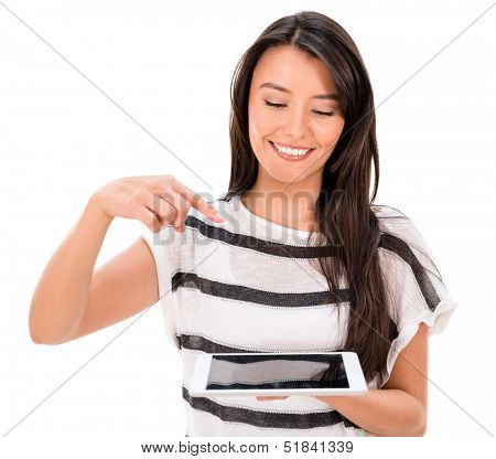 Woman pointing at a tablet computer to be used as montage - isolated over white