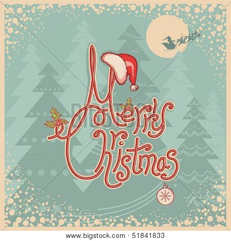 Retro Merry Christmas Card With Text.vintage Greeting Illustration