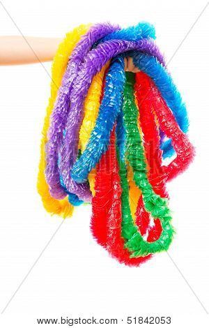 Hand Holding Multicolours Party Leis
