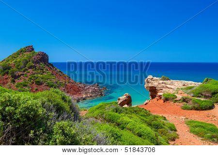 Mediterranean sea view from Menorca island coast at Cala del Pilar, Spain.