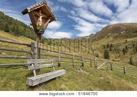 Wayside shrine in the mountains Northern Italy