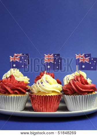 Australian Theme Red, White And Blue Cupcakes With National Flag For Australia Day, Anzac Day Or Nat