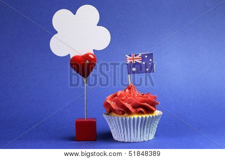 Australian Theme Red, White And Blue Cupcake With National Flag, And Sign For Your Text Here, For Au