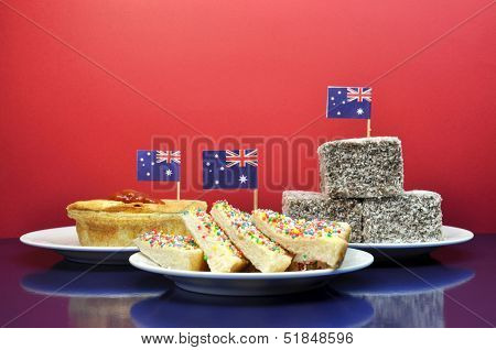 Celebrate With Tradional Aussie Tucker Food Such As Lamingtons, Meat Pies And Tomato Sauce, And Yumm