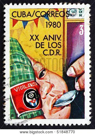 Postage Stamp Cuba 1980 Feeding Babies