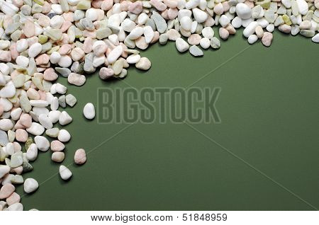 Pink, White And Green Pebbles Gravel Background Abstract, With Copy Space For Your Text Here.