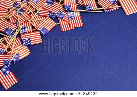 Abstract Background Of Usa Stars And Stripes, Red White And Blue National Toothpick Flags For Nation