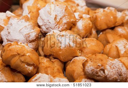 Profiteroles Choux Pastry Buns With Whipped Cream