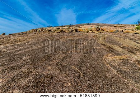 The View Climbing Up the Amazing Granite Stone Dome of Legendary Enchanted Rock, Texas