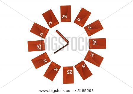 Clock Maked From Recharge Cards And Mobile