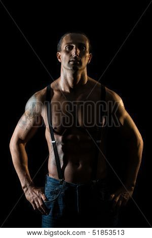 Sexy Macho Man With Black Suspenders