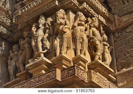 Human Sculptures At Vishvanatha Temple, Western Temples Of Khajuraho, Madhya Pradesh, India