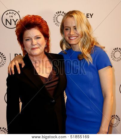 NEW YORK-OCT 2: Actress Kate Mulgrew (L) and Taylor Schilling attend 'Orange Is the New Black' at 2013 PaleyFest: Made In New York at The Paley Center for Media on October 2, 2013 in New York City.