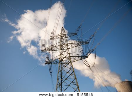 Power Line And Nuclear Power Plant Cooling Tower