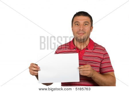 Beauty Male With Blank Page